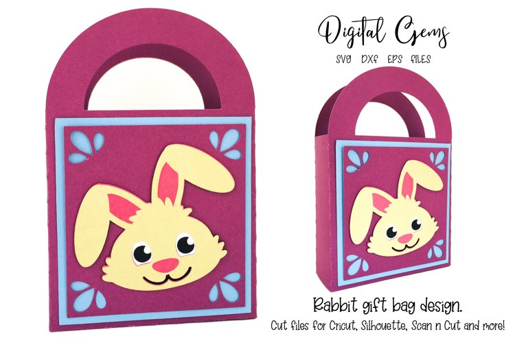 Rabbit gift bag design SVG / DXF / EPS files example image 1