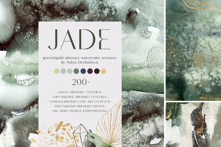 JADE. Green & gold abstract watercolor textures, line art