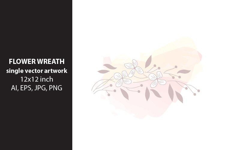 flower wreath- VECTOR ARTWORK example image 1