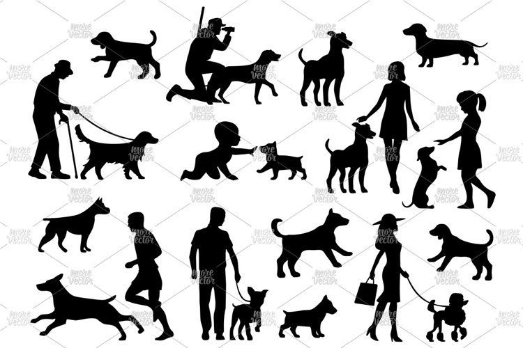 Set dog and people silhouette. Vector black flat icon example image 1