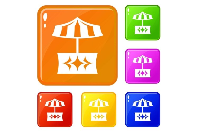 Food stall icons set vector color example image 1