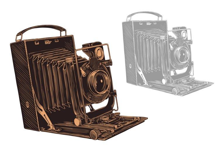 Old camera. Hand drawn illustration. Vector engraving.