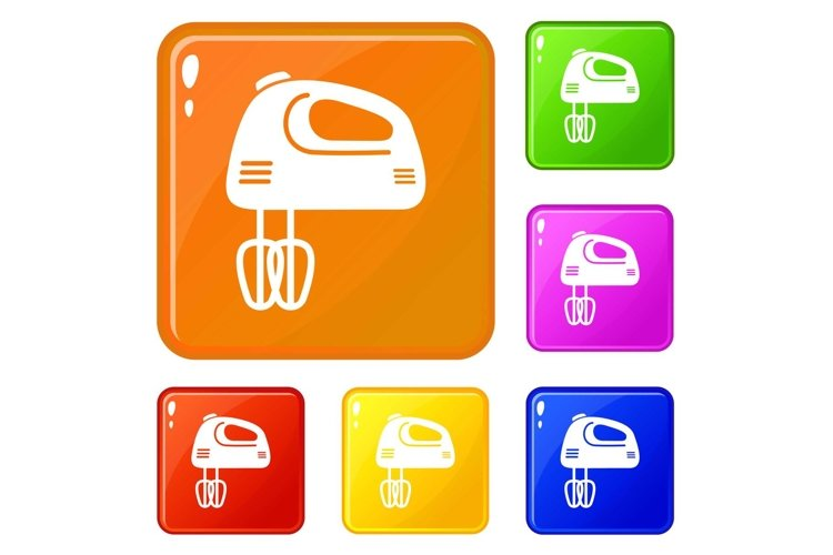 Mixer kitchen icons set vector color example image 1