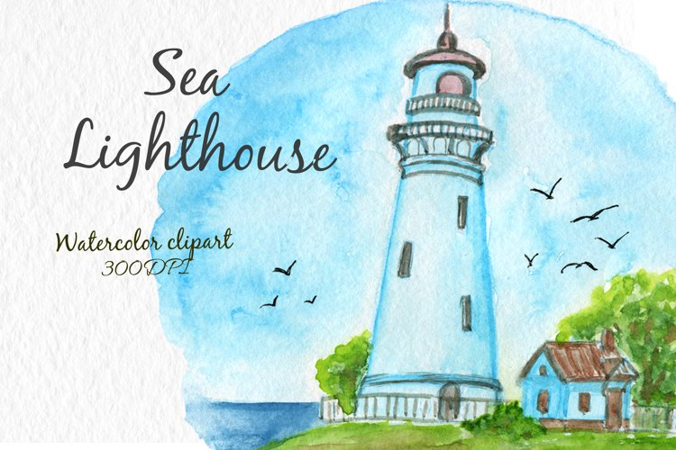 Lighthouse clipart Sea nautical Digital clipart Watercolor