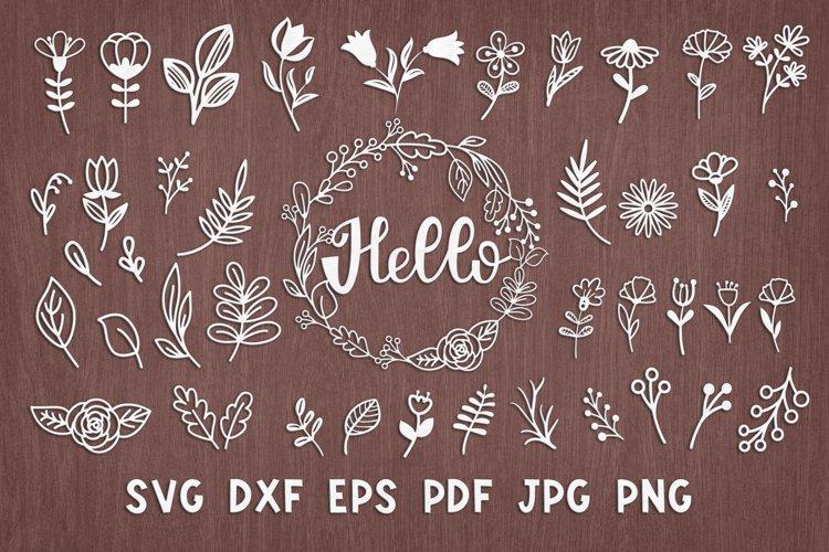 SVG Set of botanical wildflowers for laser cutting, Cricut.