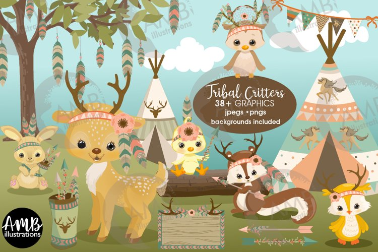 Tribal Forest Critters clipart bundle AMB-2772