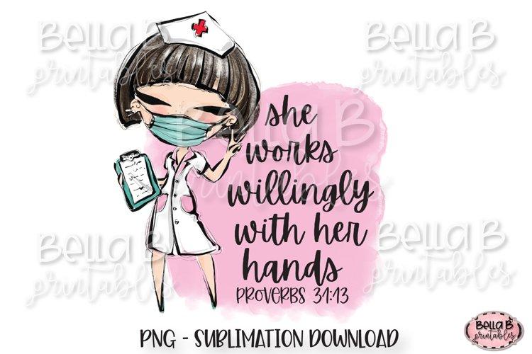 Medical Doctor Sublimation Design, She Works Willingly example image 1