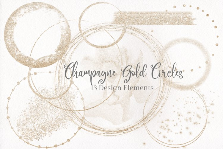 Champagne Gold Designs, Gold Circles, Gold Brush strokes example image 1