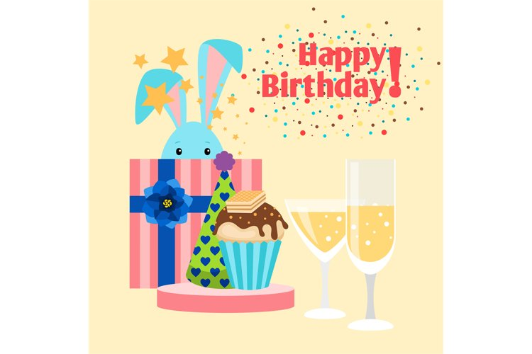 Happy birthday card with rabbit example image 1