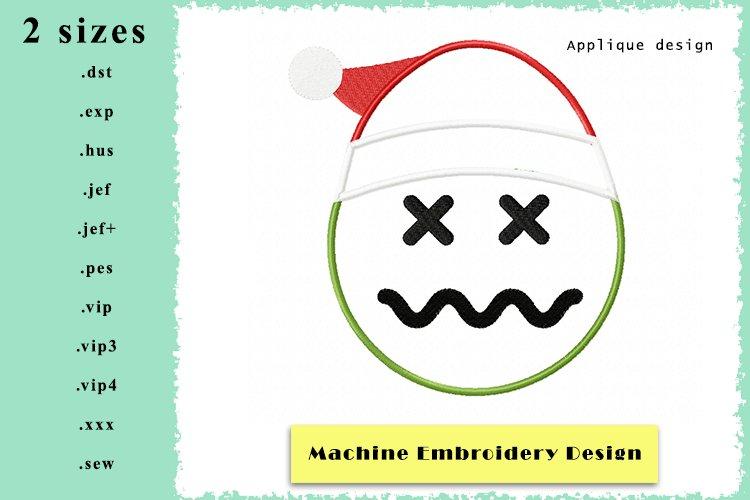 Applique Emoticon Machine Embroidery Design 2 Sizes example image 1