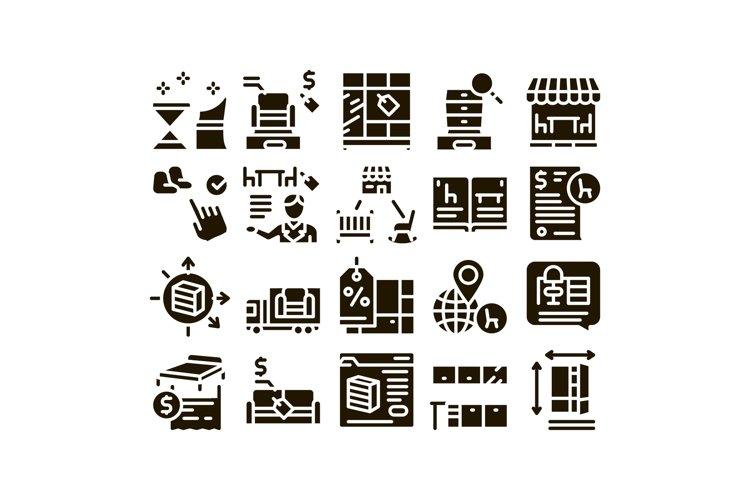 Furniture Shop Market Glyph Set Vector example image 1