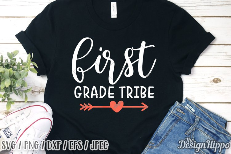 First Grade Tribe, Boho Arrow, SVG DXF PNG Cricut Cut Files example image 1