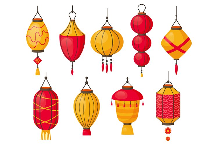 Asian lanterns. Chinese traditional red paper lamps, japanes example image 1