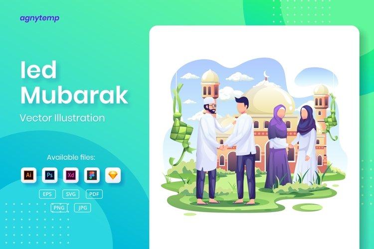 Eid Mubarak Greeting concept flat Illustration example image 1