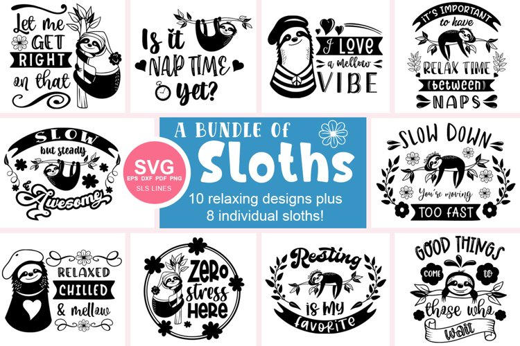 Sloth SVG Bundle - Relaxed & Fun Sloths PNGs example image 1