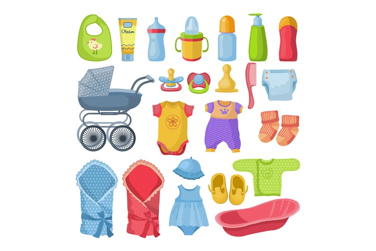 Set of different tools for newborn baby. Vector illustration example image 1