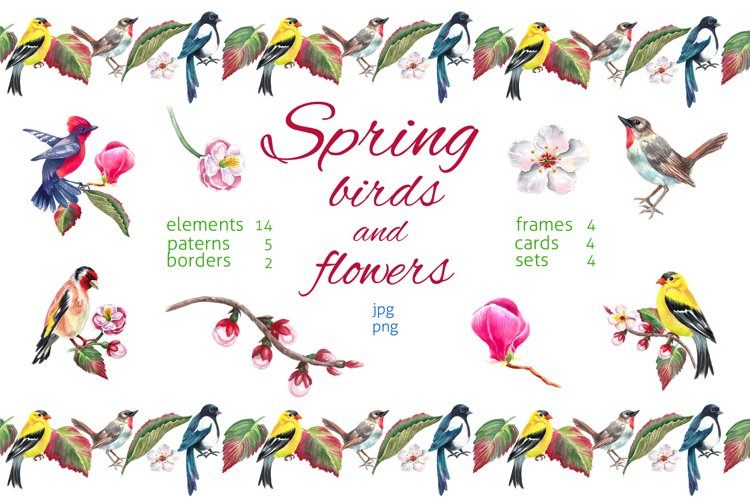 Watercolor spring birds and flowers. example image 1