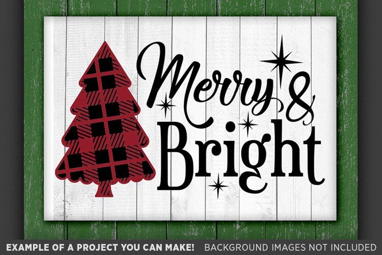 Plaid Christmas Tree Svg Merry and Bright SVG - Plaid Svg - example image 1