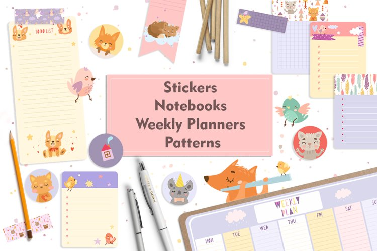 Weekly Planner. Planner stickers. Notebook paper. To do list