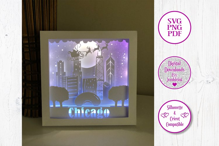 Santa Over Chicago - 3D Paper Cut Template Light Box Shadow example image 1