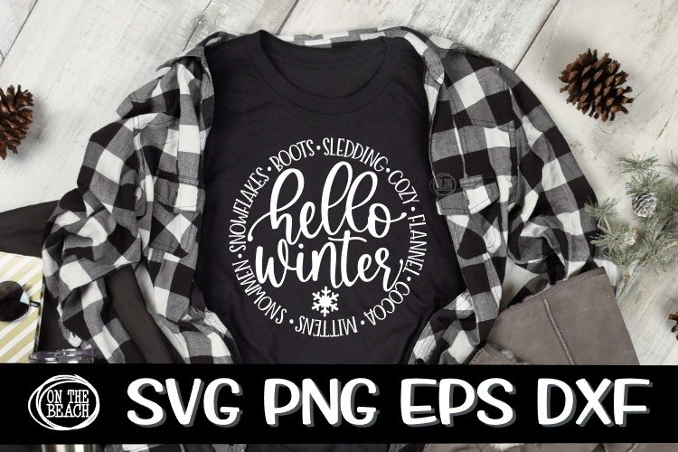 HELLO WINTER SVG - Winter - Words - Circle - SVG PNG EPS DXF example image 1