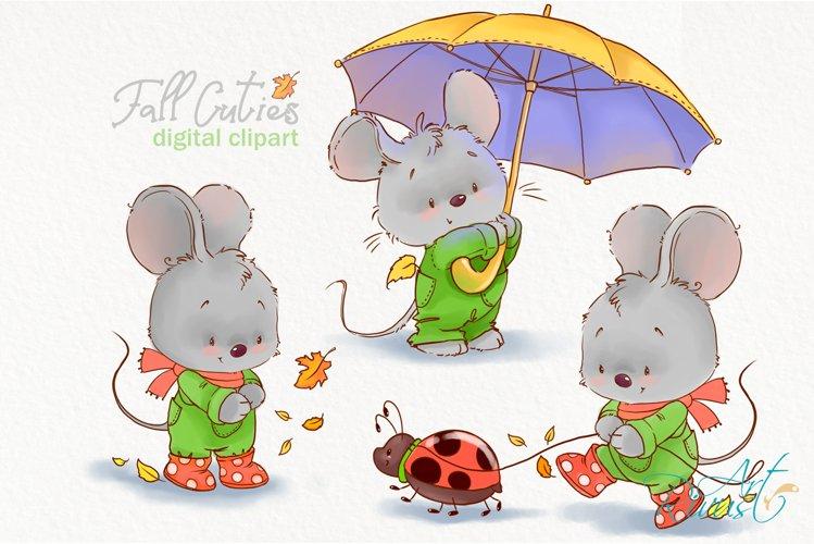 Fall clipart. Cute mouse clip art. Little mouse illustration