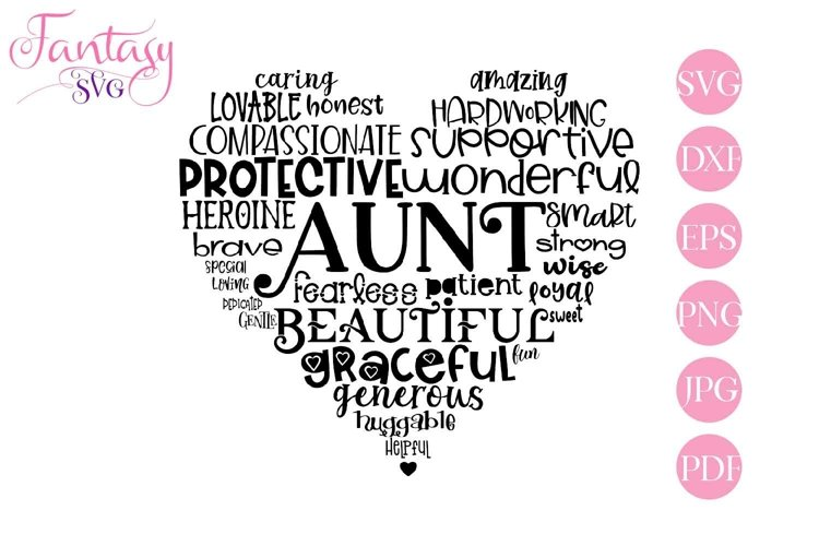 Aunt Word Art - Svg Cut Files example image 1