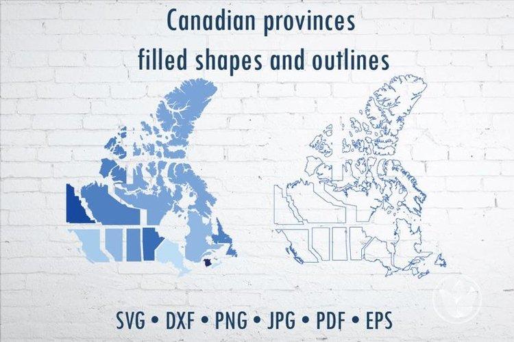 Stencil Canada provinces map, Svg cut shapes example image 1