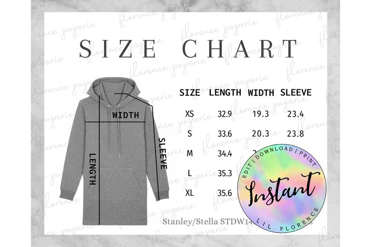 Stanley/Stella STDW143 Hoodie Dress Size Chart example image 1
