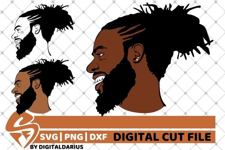 3x Afro Man svg, Dreadlocks svg, Afro Bun, Layered, Africa example image 1