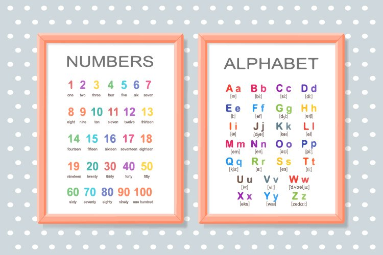 Alphabet and numbers on posters for school and preschool