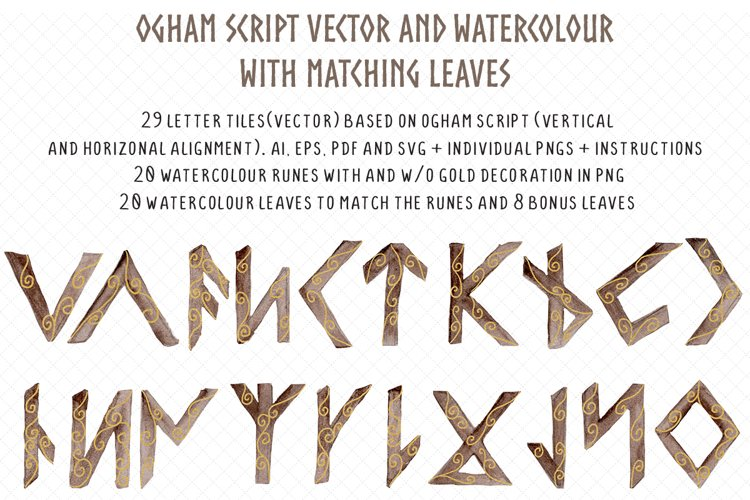 Ogham watercolour and vector rune set with tree leaves example image 1