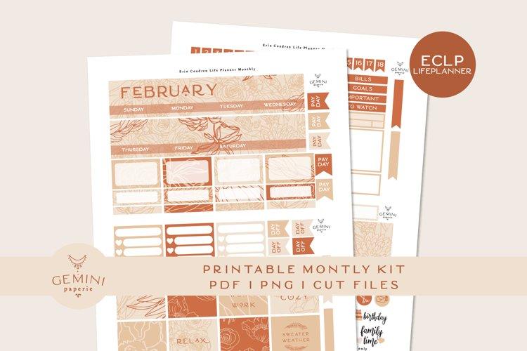 Monthly February Printable Planner Sticker Kit Erin Condren example image 1