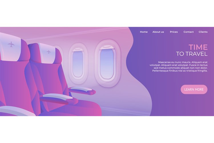 Time to travel landing page. View from airplane website. Vac example image 1