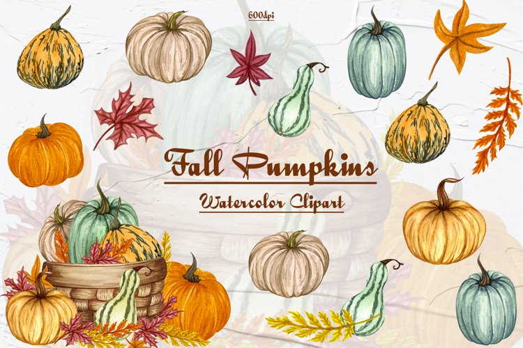Pumpkin Watercolor Clipart example image 1