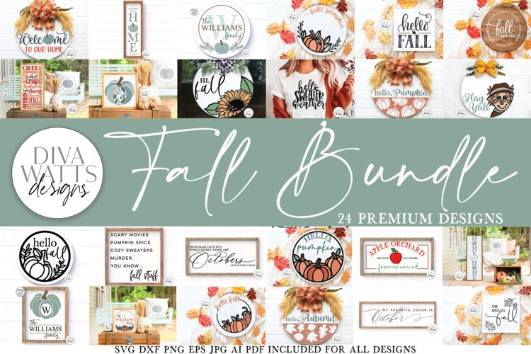 Fall / Autumn SVG Bundle of 24 Designs | Sign Making SVG example image 1
