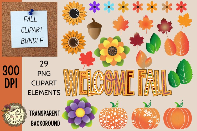 Fall Clipart-Autumn Bundle-Pumpkins-Sunflowers-Welcome Fall