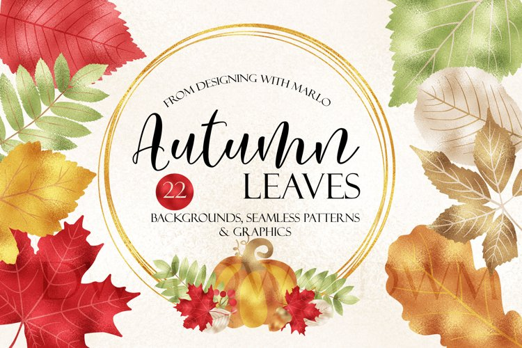 Foil Style - Autumn Leaves Clipart & Seamless Patterns