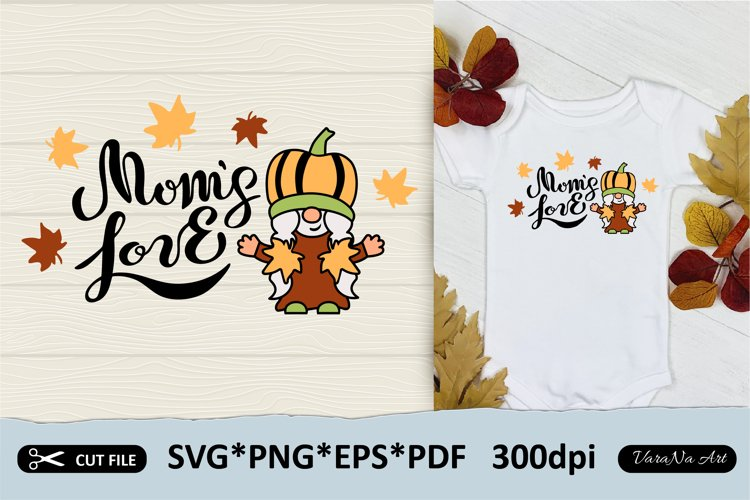 Hand lettered Happy Thanksgiving and pumpkin gnome girl.