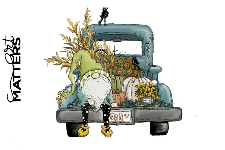 Fall Gnome Vintage Truck Sunflower- Hand Painted - 300 DPI