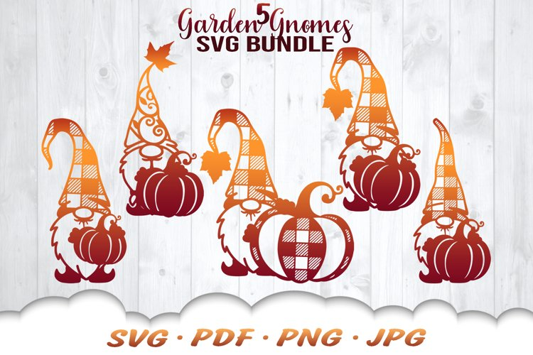 Fall Pumpkin Garden Gnomes SVG Bundle example image 1
