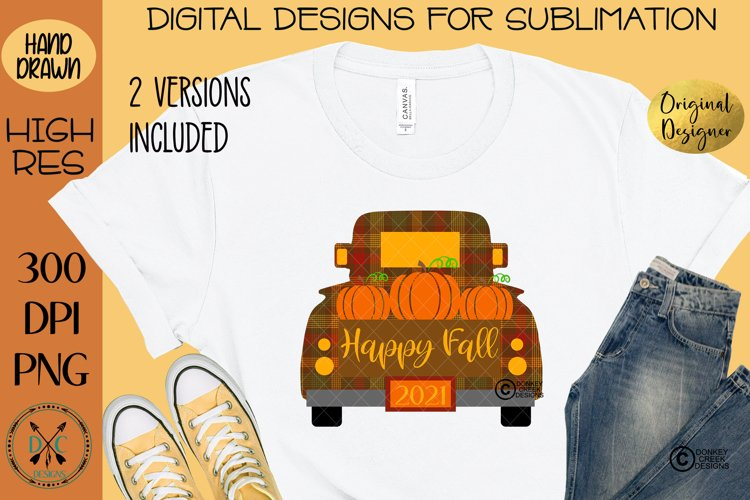 Happy Fall Truck of Pumpkins Sublimation Design example image 1