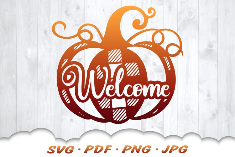 Fall Pumpkin Welcome SVG Cut Files example image 1