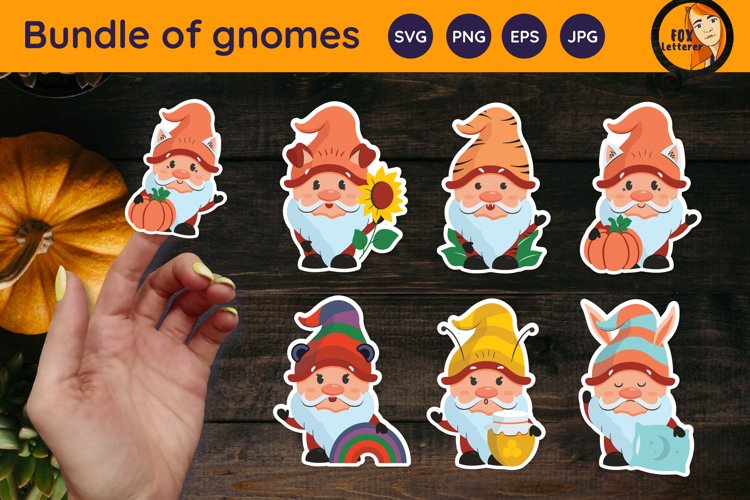 Happy fall gnomes. Autumn printable stickers svg