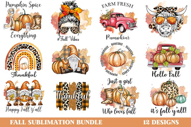 Fall Sublimation Bundle, Autumn Sublimation Bundle, Fall PNG example image 1