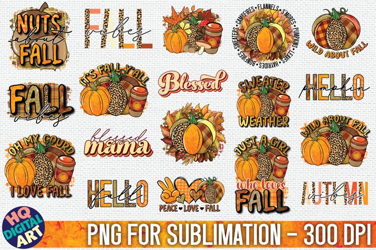 Fall Sublimation Bundle 18 PNG Designs example image 1