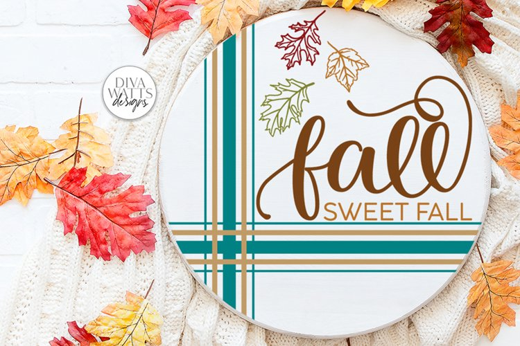 Fall Sweet Fall SVG | Autumn Round Farmhouse Design example image 1