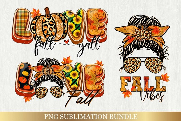 Fall Sublimation Bundle - Love Fall Yall Png Autumn Vibes example image 1