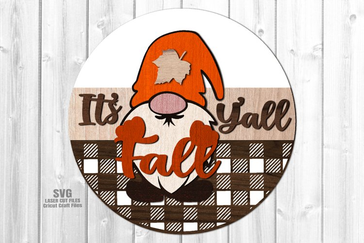 Glowforge Fall Y'all Gnome Round SVG Farmhouse Laser Files example image 1