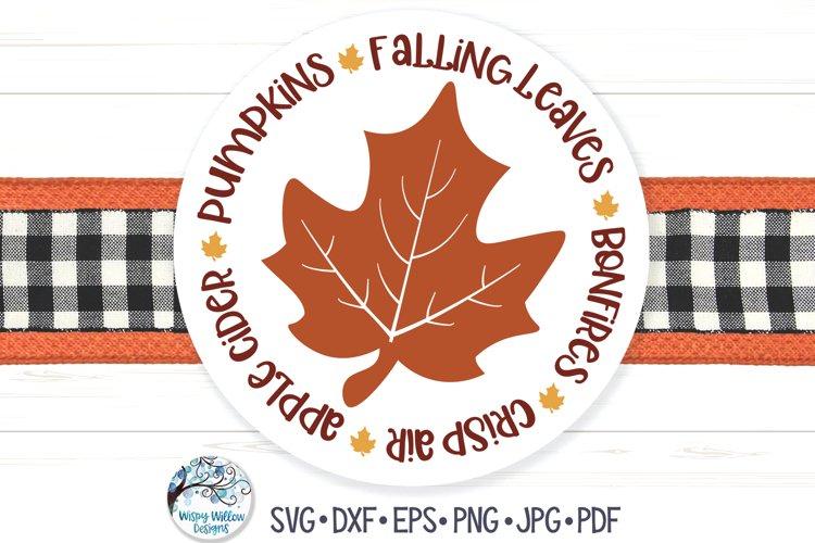 Fall Leaf Circle SVG   Falling Leaves, Pumpkins, Bonfires example image 1